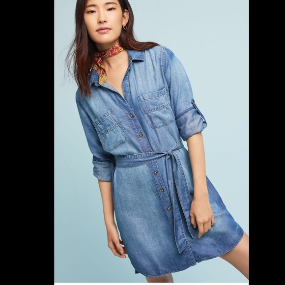 403e084eb134 Anthropologie Dresses   Skirts - Cloth   Stone Chambray Tunic Belted Shirt  Dress